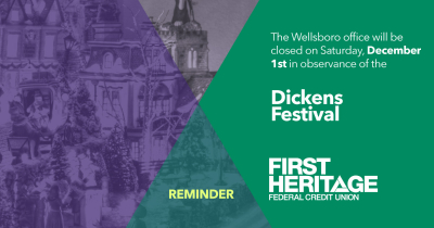 Reminder: The Wellsboro office will be closed on Saturday, December 1st in observance of the Dickens Festival.