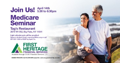 Medicare seminar on April 14, 2020 at Tag's restaurant from 5:30 to 6:30 PM.