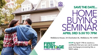 Home buying seminar, April 3, 2020 at the wellsboro house on PA