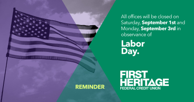 Reminder: All offices will be closed on Saturday, September 1st and Monday, September 3rd in observance of Labor Day.