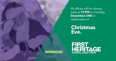Reminder: All offices will close early at 12PM in observance of Christmas Eve.
