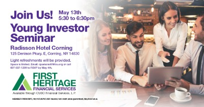 young investors seminar May 13th at the radisson hotel, corning from 5:30 to 6:30 PM