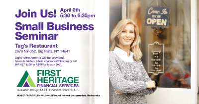small business seminar on april 6, 2020 at tags restaurant in big flats ny from 5:30 to 6:30 PM