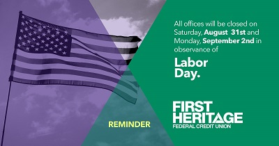 Reminder: All offices will be closed on August 31st and September 2nd in observance of Labor Day.