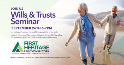 Join us for our Wills & Trusts Seminar on September 26th from 6 to 7 PM at Lambs Creek Food and Spirits in Mansfield, PA. Light refreshments will be provided. RSVP to Christy Parsons at 607-937-1299 or email cparsons@fhfcu.org.