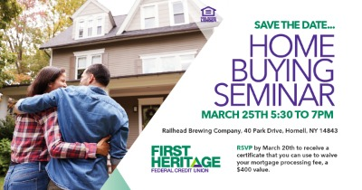 Hornell home buying seminar on March 25th from 5:30 to 7:00 PM at Railhead Brewing.